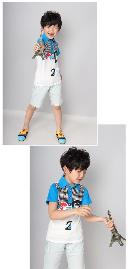 เสื้อโปโล D2 สีฟ้า (5 ตัว/pack)