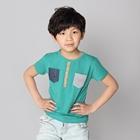 เสื้อแขนสั้ันกระเป๋า-2-สี-สีเขียว-(5ตัว/pack)
