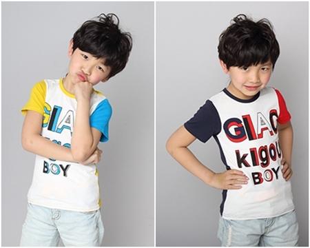 เสื้อแขนสั้ัน GIAO BOY สีเหลืองฟ้า (5ตัว/pack)