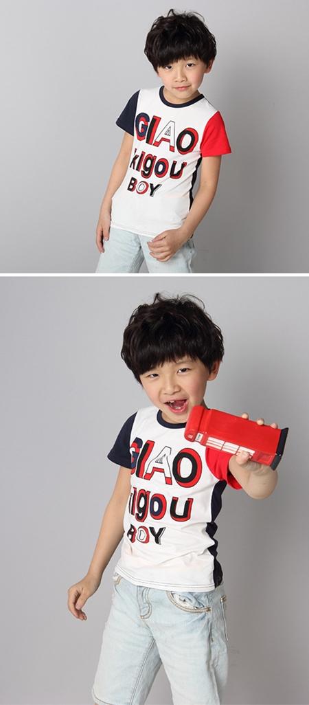 เสื้อแขนสั้ัน GIAO BOY สีแดงดำ (5ตัว/pack)