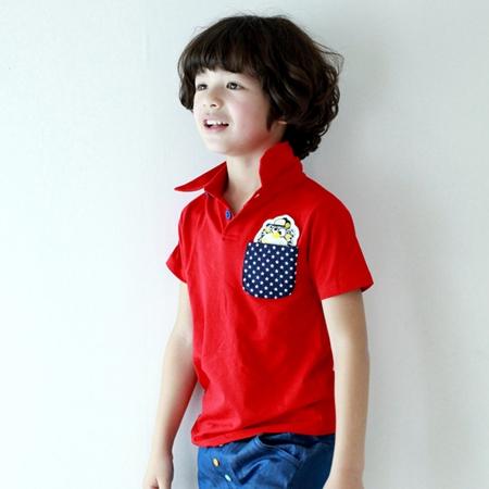 เสื้อโปโลหมีซ่อนแอบ สีแดง (5 ตัว/pack)
