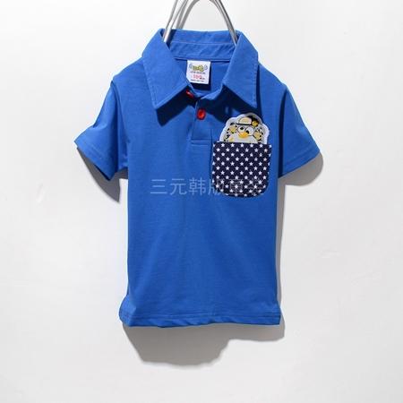 เสื้อโปโลหมีซ่อนแอบ สีน้ำเงิน (5 ตัว/pack)
