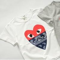 เสื้อยืดแขนสั้นหัวใจลุงหนวด-สีขาว-(5size/pack)