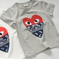 เสื้อยืดแขนสั้นหัวใจลุงหนวด-สีเทา-(5size/pack)