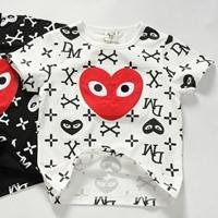 เสื้อยืดแขนสั้นหัวใจ-XO-XO-สีขาว-(5size/pack)