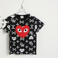 เสื้อยืดแขนสั้นหัวใจ-XO-XO-สีดำ-(5size/pack)