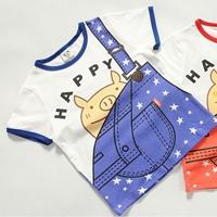 เสื้อยืดแขนสั้นเอี๊ยมหมู-Happy-สีฟ้า-(5size/pack)