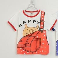 เสื้อยืดแขนสั้นเอี๊ยมหมู-Happy-สีส้ม-(5size/pack)