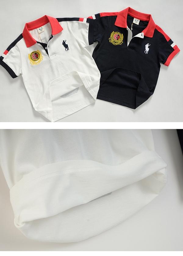 เสื้อโปโลเด็กแขนสั้นยี่ห้อ POLO สีกรม (5size/pack)