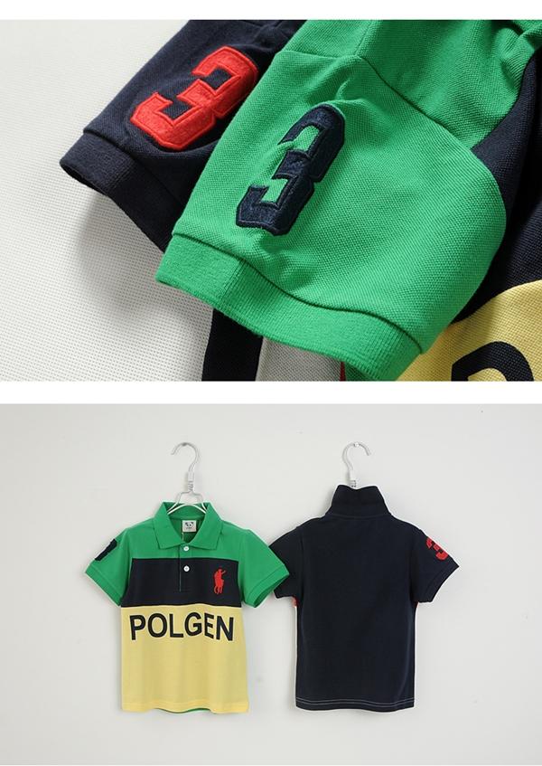 เสื้อโปโลเด็กแขนสั้นPOLOสีเขียวเหลือง (5size/pack)