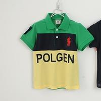 เสื้อโปโลเด็กแขนสั้นPOLOสีเขียวเหลือง-(5size/pack)
