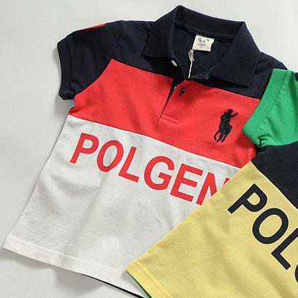 เสื้อโปโลเด็กแขนสั้น POLO สีกรมแดง (5size/pack)