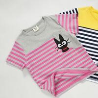 เสื้อยืดแขนสั้นแมวเหมียว-สีชมพูเทา-(5size/pack)