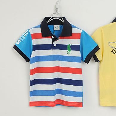 เสื้อโปโลเด็กลายขวาง POLO สีฟ้า(5size/pack)