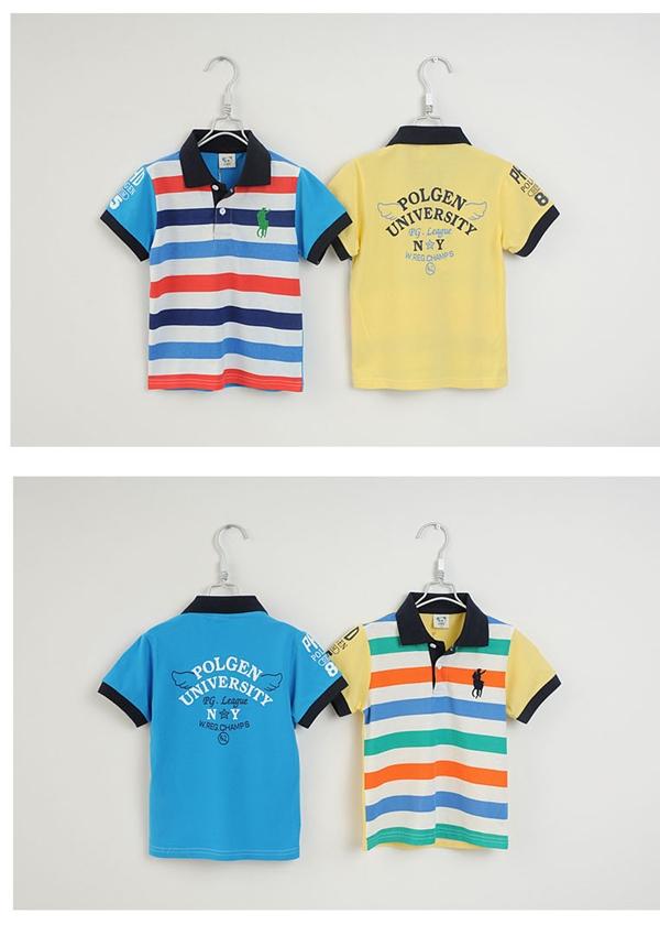 เสื้อโปโลเด็กลายขวาง POLO สีเหลือง (5size/pack)