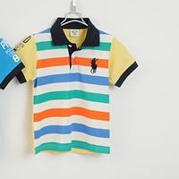 เสื้อโปโลเด็กลายขวาง-POLO-สีเหลือง-(5size/pack)