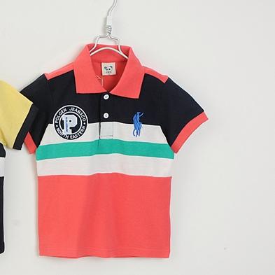 เสื้อโปโลเด็กลายขวาง POLO ปกสีแดง (5size/pack)