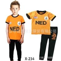 ชุดนอนนักฟุตบอลเนเธอแลนด์-สีส้มดำ-(6-ตัว/pack)