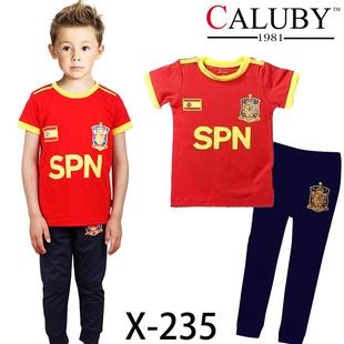 ชุดนอนนักฟุตบอลสเปน เสื้อแดงขอบเหลือง (6 ตัว/pack)