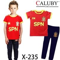 ชุดนอนนักฟุตบอลสเปน-เสื้อแดงขอบเหลือง-(6-ตัว/pack)
