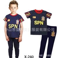 ชุดนอนนักฟุตบอลสเปน-เสื้อน้ำเงินขอบแดง(6-ตัว/pack)