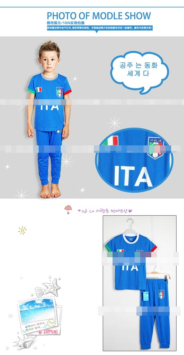 ชุดนอนนักฟุตบอลอิตาลี สีฟ้า (6 ตัว/pack)