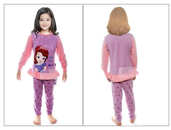 ชุดนอนเจ้าหญิงดิสนีย์ สีม่วงแขนชมพู (6 ตัว/pack)