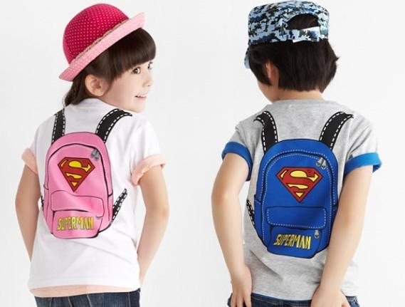 เสื้อยืดคอกลมเป้ Superman สีเทา (10 ตัว/pack)