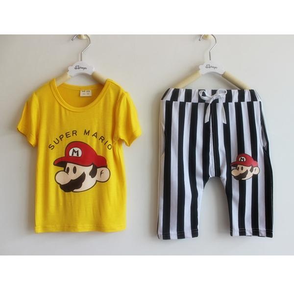 เซ็ทเสื้อกางเกง Super Mario สีเหลือง (10 ตัว/pack)