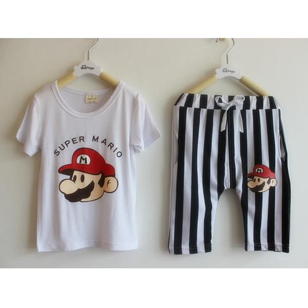 เซ็ทเสื้อกางเกง Super Mario สีขาว (10 ตัว/pack)