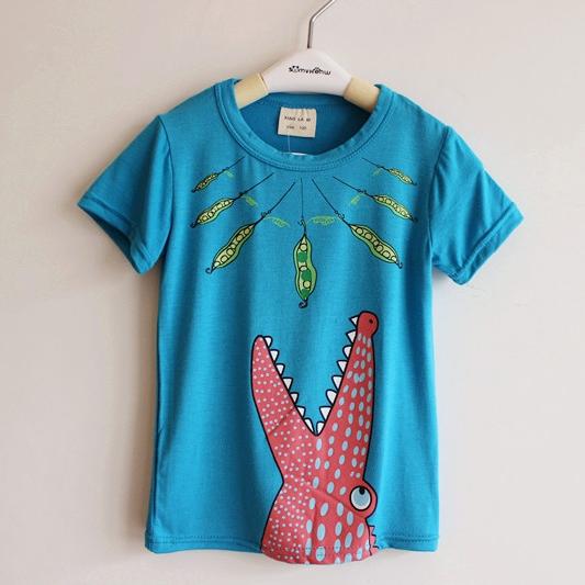 เสื้อยืดแขนสั้นจระเข้ปากกว้าง สีฟ้า (10 ตัว/pack)