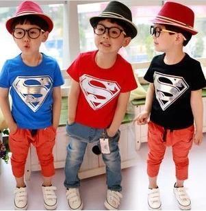เสื้อยืดแขนสั้น Superman สีฟ้า (10 ตัว/pack)