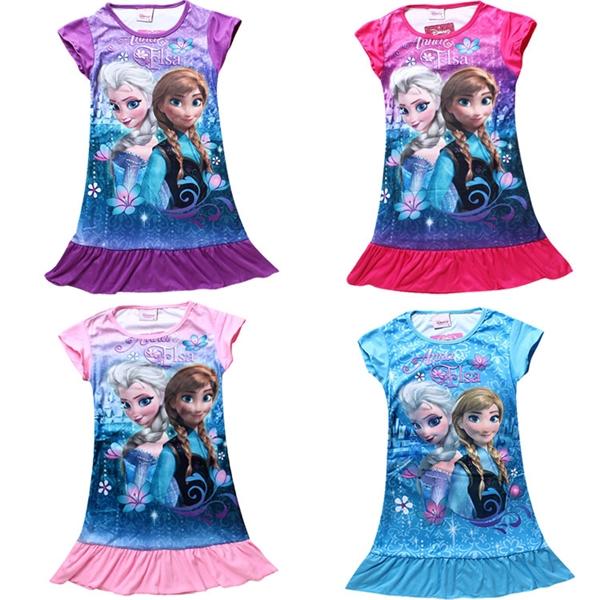 เดรสเจ้าหญิง Anna และ Elsa สีม่วง (4 ตัว/pack)