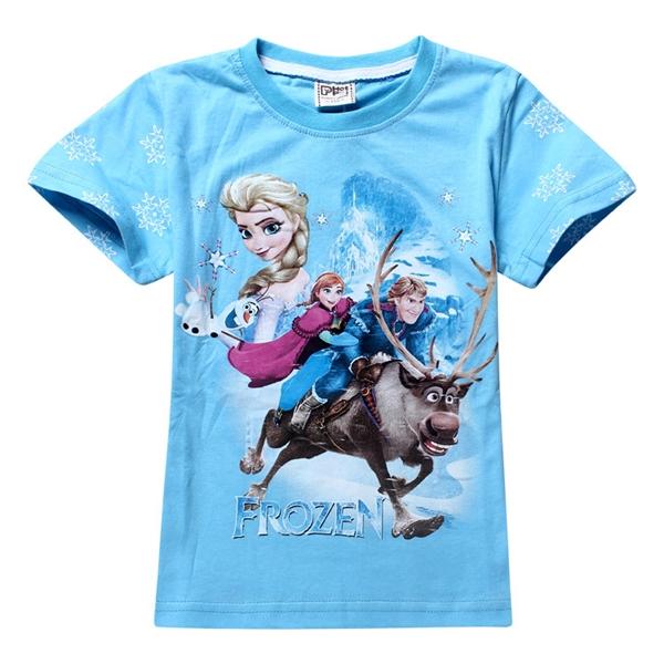 เสื้อยืดเจ้าหญิงเจ้าชายขี่กวางสีฟ้า (6 ตัว/pack)