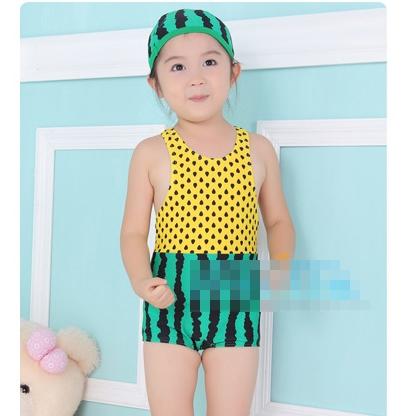ชุดว่ายน้ำแตงโม สีเหลืองเขียวพร้อมหมวก(5 ตัว/pack)