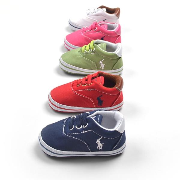 รองเท้าผ้าใบเด็ก POLO สีชมพูบานเย็น (6 คู่/pack)