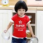 เสื้อยืดแขนสั้น-Super-Star-สีแดง-(5size/pack)