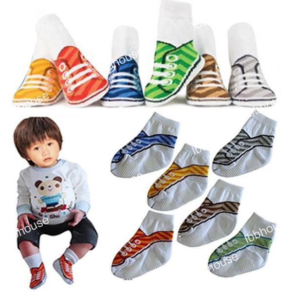 ถุงเท้าเด็กแฟชั่นลายรองเท้า คละสี (36  คู่ /pack)