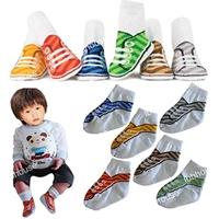 ถุงเท้าเด็กแฟชั่นลายรองเท้า-คละสี-(36--คู่-/pack)