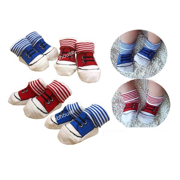 ถุงเท้าเด็กลายรองเท้าผ้าใบ คละสี (32  คู่ /pack)