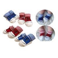 ถุงเท้าเด็กลายรองเท้าผ้าใบ-คละสี-(32--คู่-/pack)