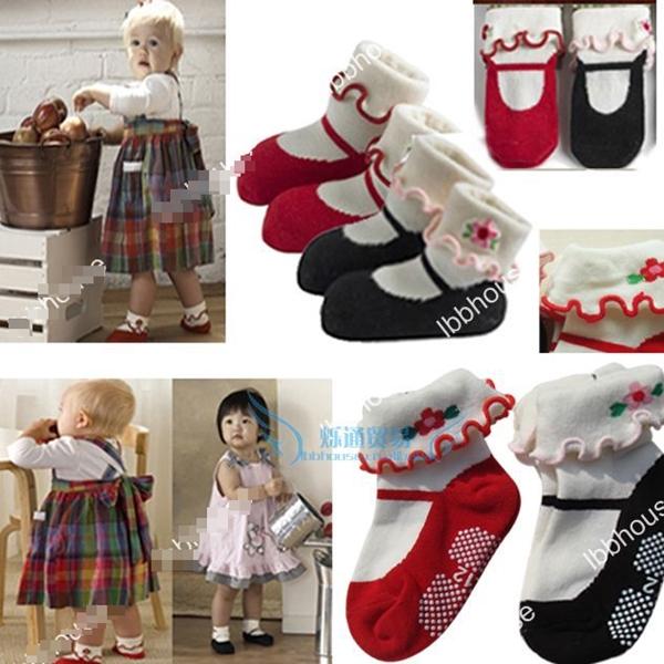 ถุงเท้าเด็กลายรองเท้าเด็กหญิงคละสี (30  คู่ /pack)