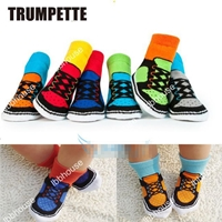 ถุงเท้าเด็กลายรองเท้าสีสดใส-คละสี-(36-คู่-/pack)
