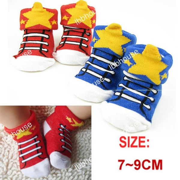 ถุงเท้าเด็กลายรองเท้าผ้าใบสดใสคละสี (20 คู่ /pack)