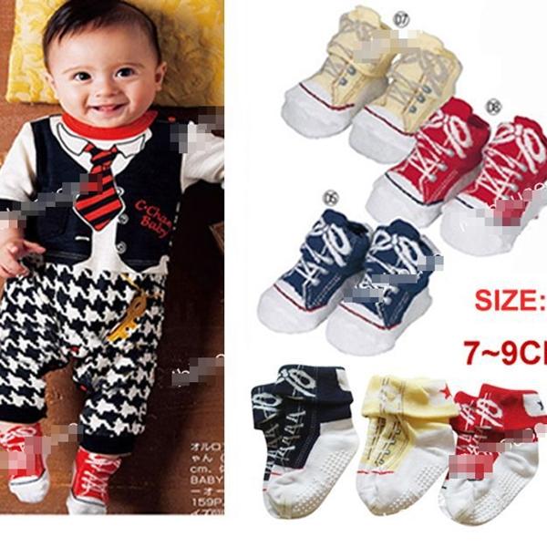 ถุงเท้าเด็กลายรองเท้าผ้าใบสดใสคละสี (24 คู่ /pack)