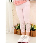 กางเกงเลกกิ้งประดับลูกไม้-สีชมพู-(4size/pack)