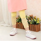 กางเกงเลกกิ้งประดับลูกไม้-สีเหลือง-(4size/pack)