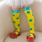ถุงเท้ายาวลายจุด-สีเหลือง-(12-คู่-/pack)
