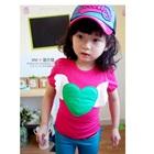 เสื้อยืดแขนสั้นหัวใจดวงโต-สีชมพู-(5size/pack)