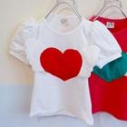 เสื้อยืดแขนสั้นหัวใจดวงโต-สีขาว(5size/pack)